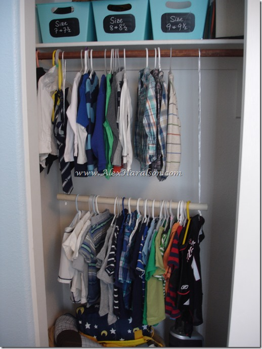 Add a second rod to the closet to instantly double hanging space