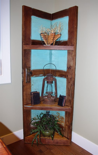 Corner Shelving Unit Made from a Door