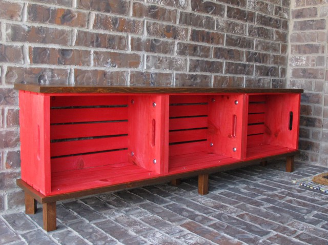 Made from simple wood crates, screwed together, add feet and wood ...