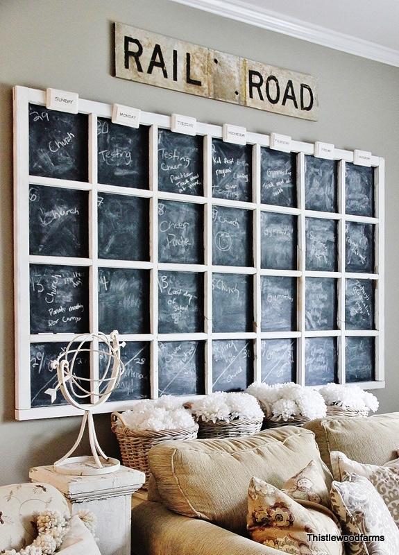 Old Window Repurposed into a Chalkboard Calendar