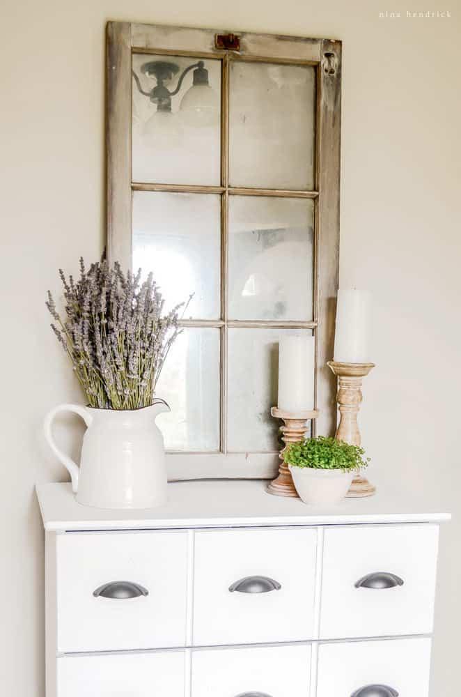 Old Window Pane Turned Mirror