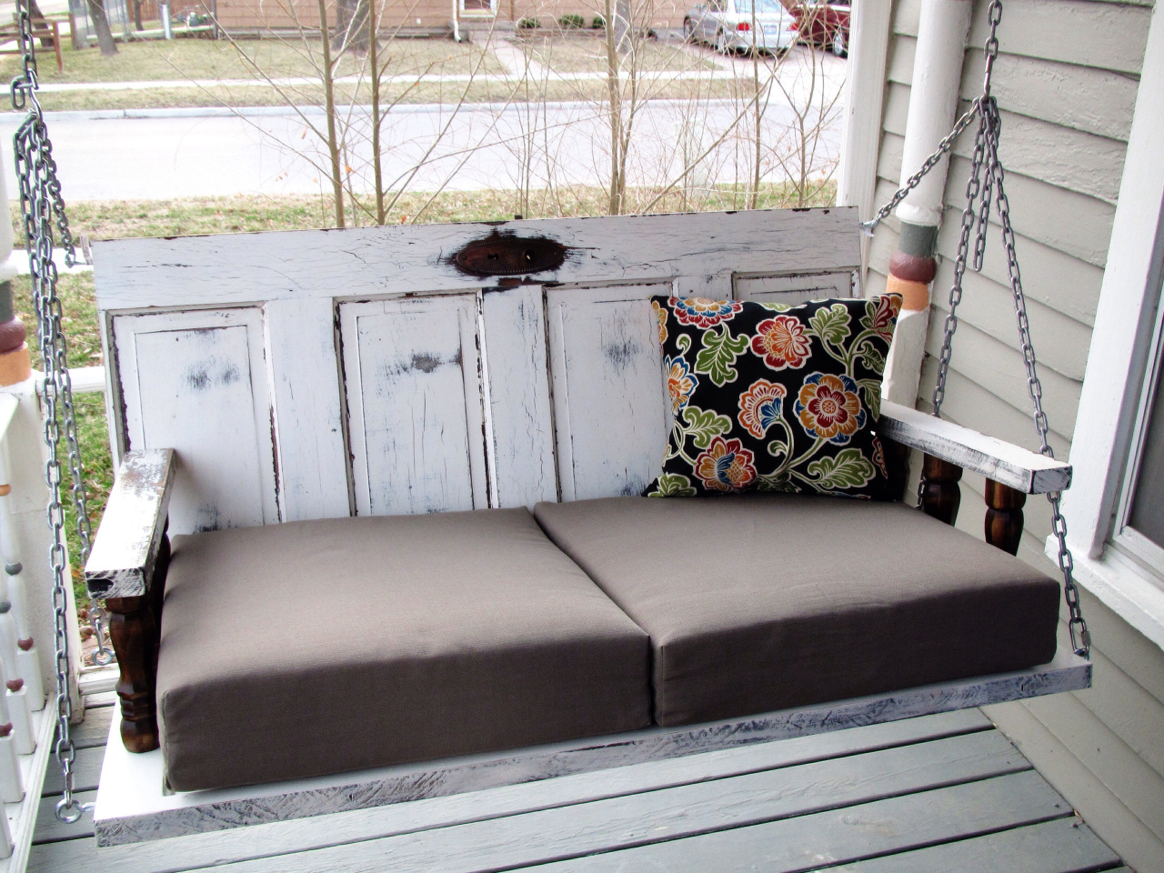 Porch Swing from Old Doors | A Guy, A Girl, and a Really Old Hou…