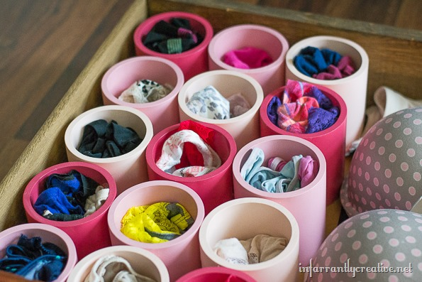 Use PVC pipe to organize your underwear in your clothing drawer