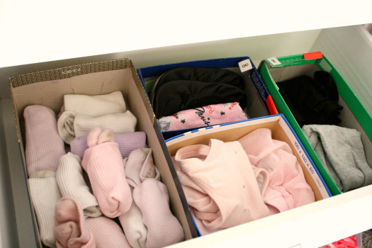 Use shoe boxes to divide and organize sock/panty/pajama drawer