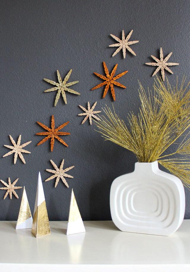 clothespin snowflake wall art