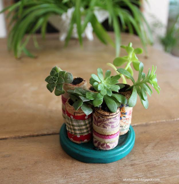 miniature cork planters