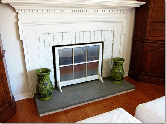 Old Window Fireplace Screen
