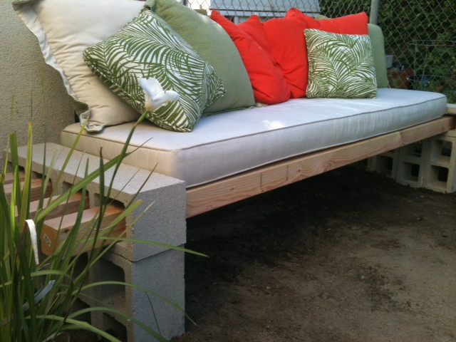 Cinder Block & Wood Bench
