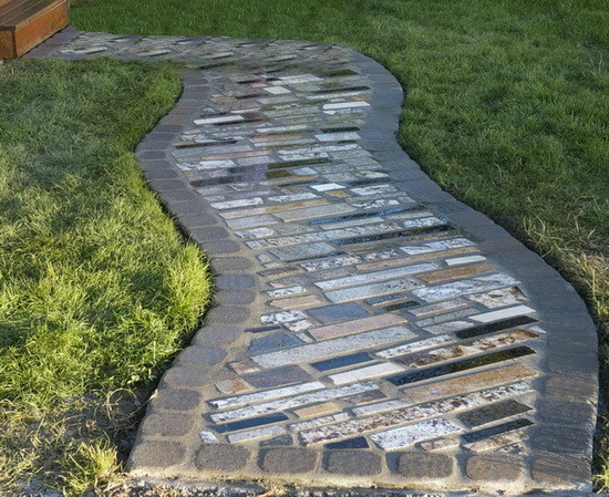4 make a walkway using the recycled granite