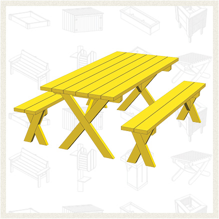 Picnic Table With Separate Benches – This plan makes a table that ...