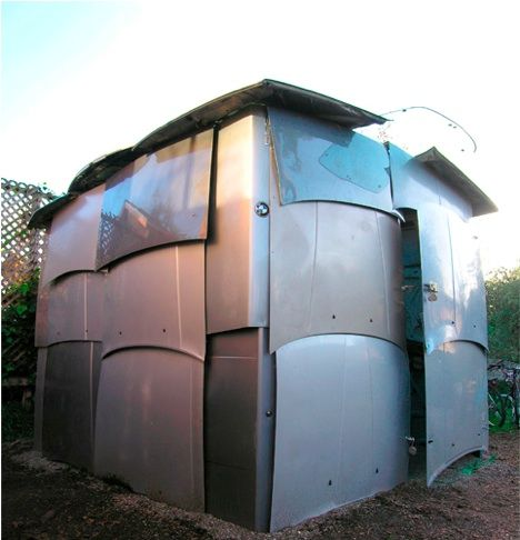 Shed Constructed Entirely Out Of Recycled Car Parts