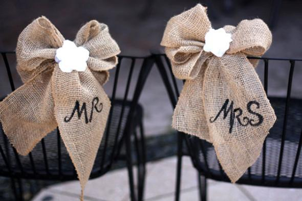 18 stunning diy rustic wedding decorations burlap lace wedding chair decoration junglespirit Gallery
