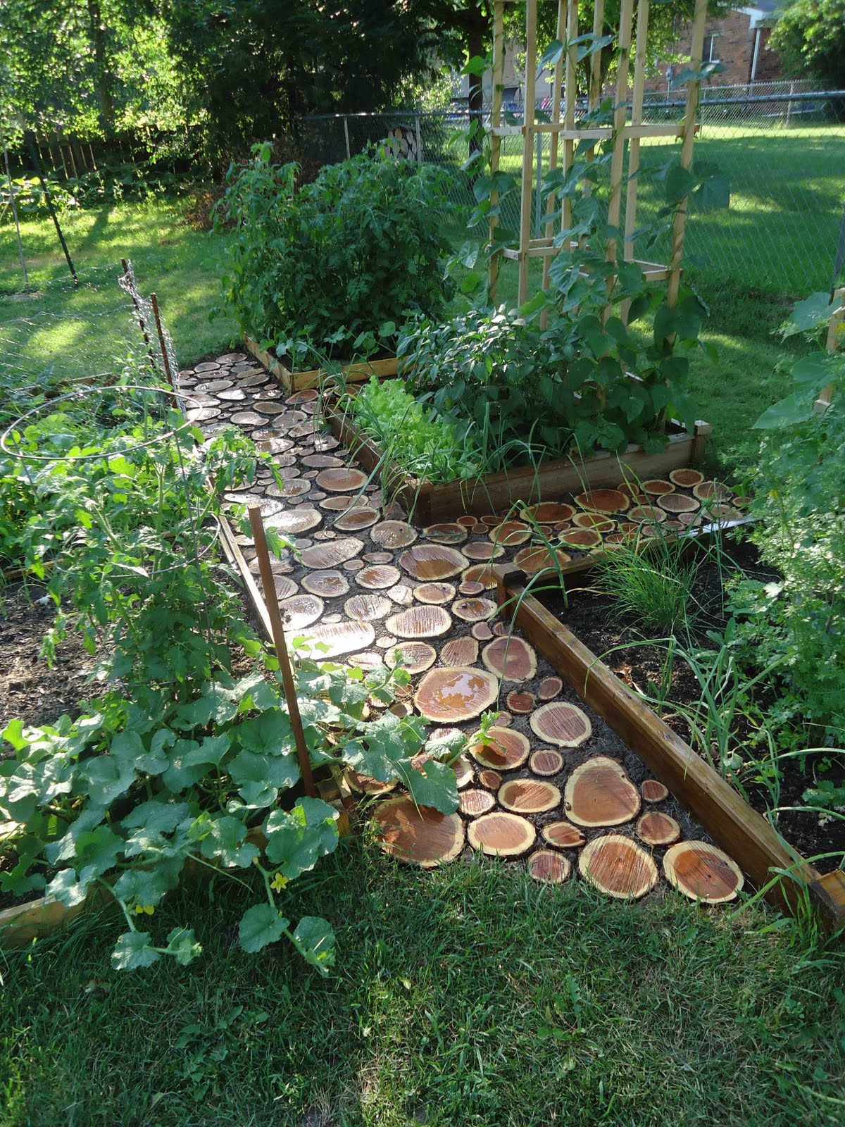 these wood slice garden paths are definitely something unique and really worth to make