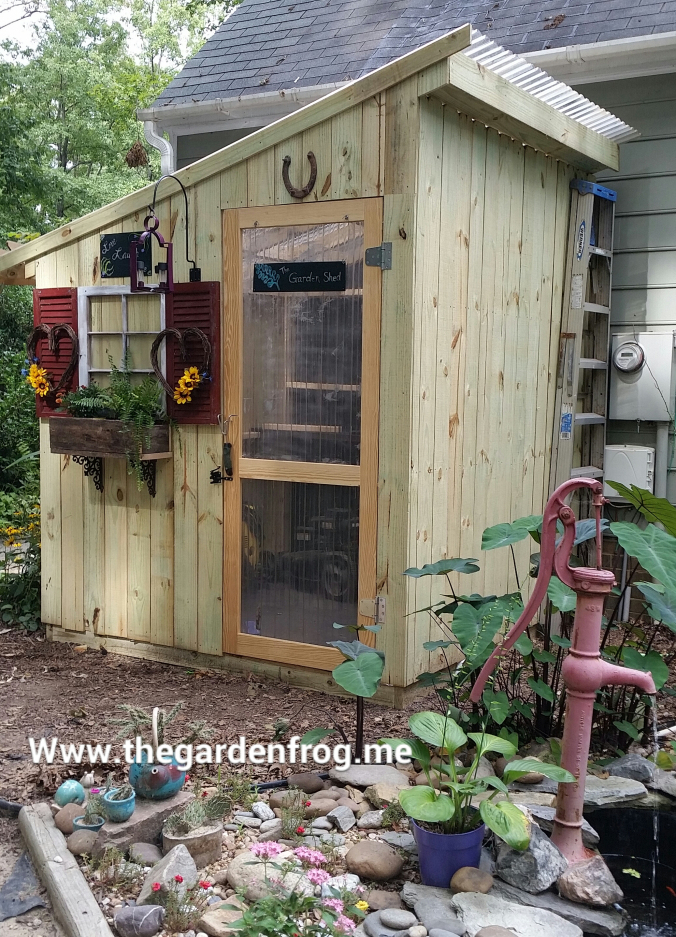 rustic picket garden shed