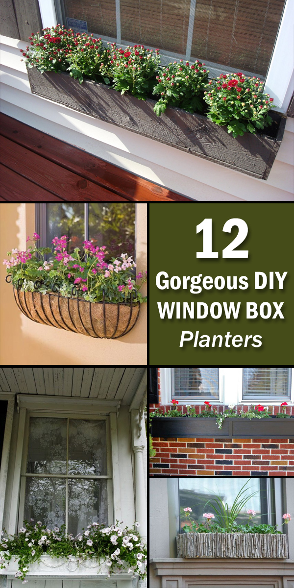 12 gorgeous diy window box planters. Black Bedroom Furniture Sets. Home Design Ideas