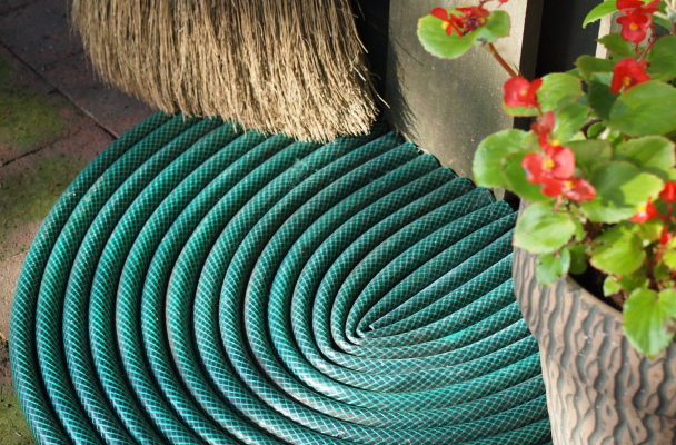 A door mat made from old hoses