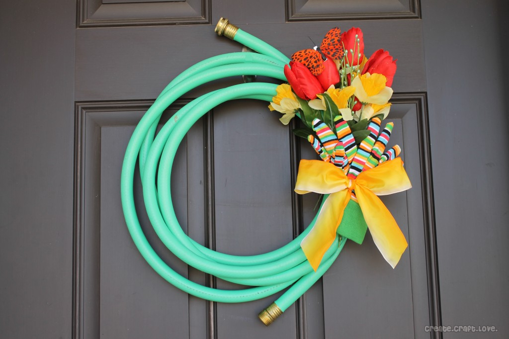 A garden hose wreath