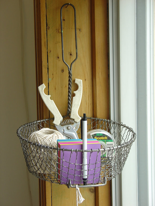 Basket Turned into Wall Storage