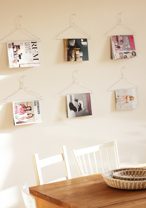 Display magazines on hangers