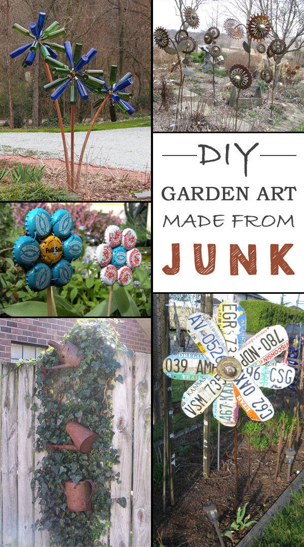 Garden Art Ideas rusty metal garden decor 12 Ideas How To Create Unique Garden Art From Junk