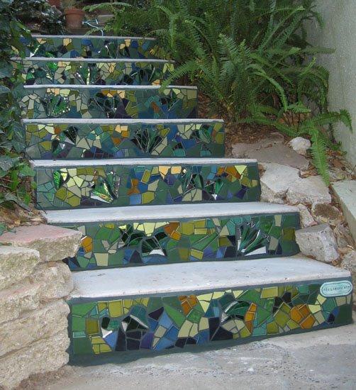 Mosaic garden stairs