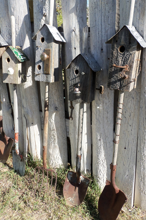 Old Shovels & Rakes with birdhouses