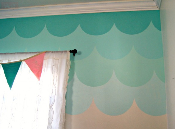 Ombre Scallop accent wall