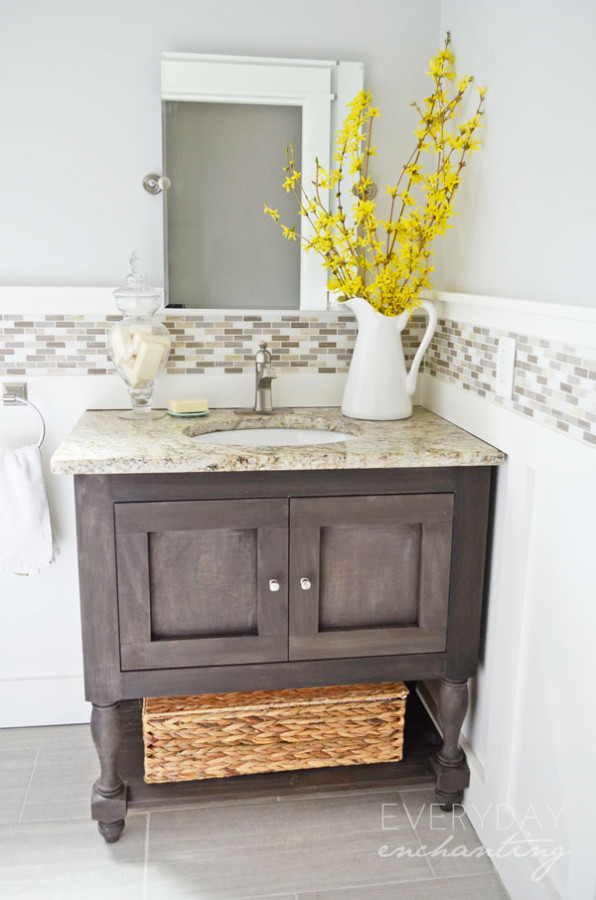 2. Pottery Barn Inspired Sink Console