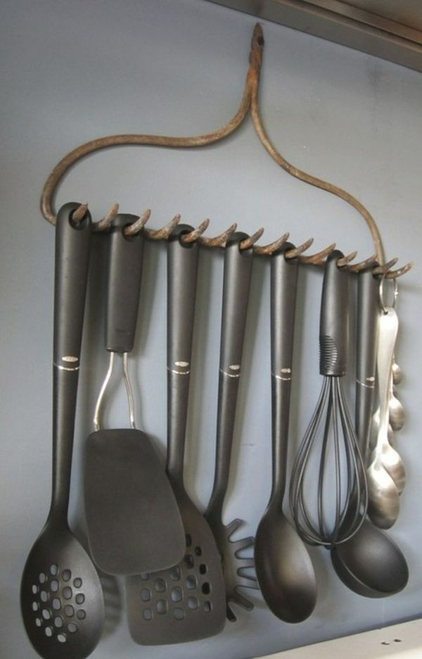 Repurposed Rake Head as Utensil Holder