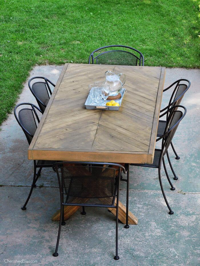 X-Leg Herringbone Table