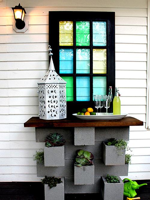 cinder block planter bar