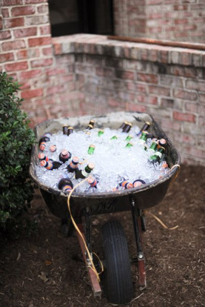 ice filled wheelbarrow