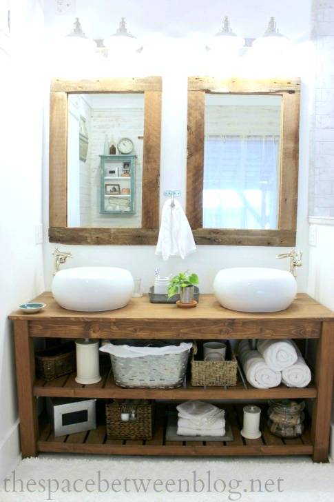 14 creative diy bathroom vanities for Diy wood vanity