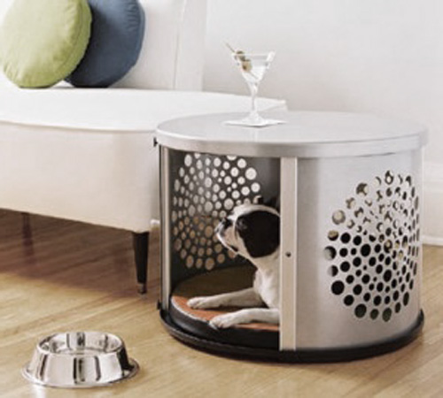 A dog den made from a washing machine drum