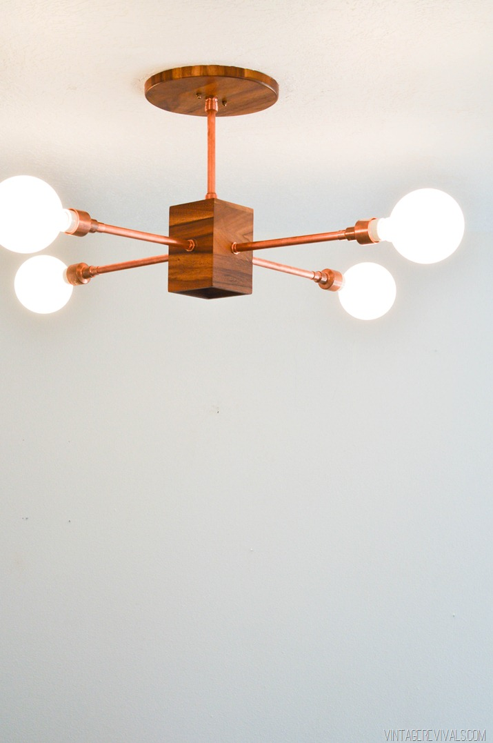 Copper and Wood Hanging Light Fixture