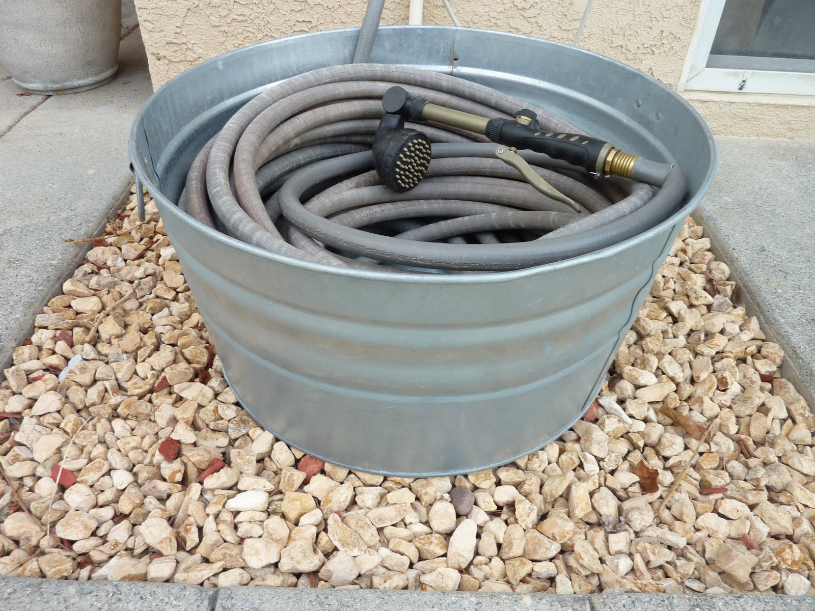 Garden Hose Storage Ideas holds garden hose 7 Galvanized Wash Tub