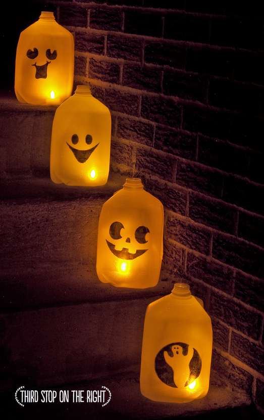 ghost milk jug luminaries