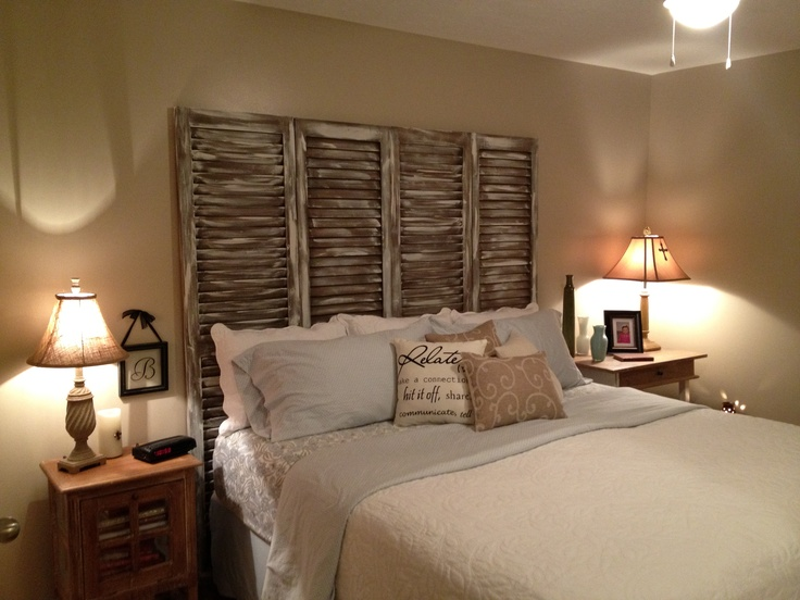 Headboard made from Old Shutters