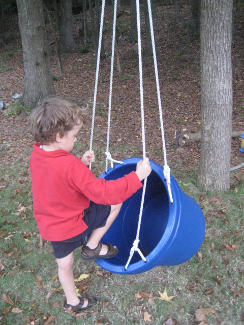 Sensory Swing Made from Plastic Bucket