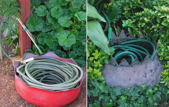 Garden Hose Storage Ideas inexpensive garden hose hook Tires As Hose Rollers