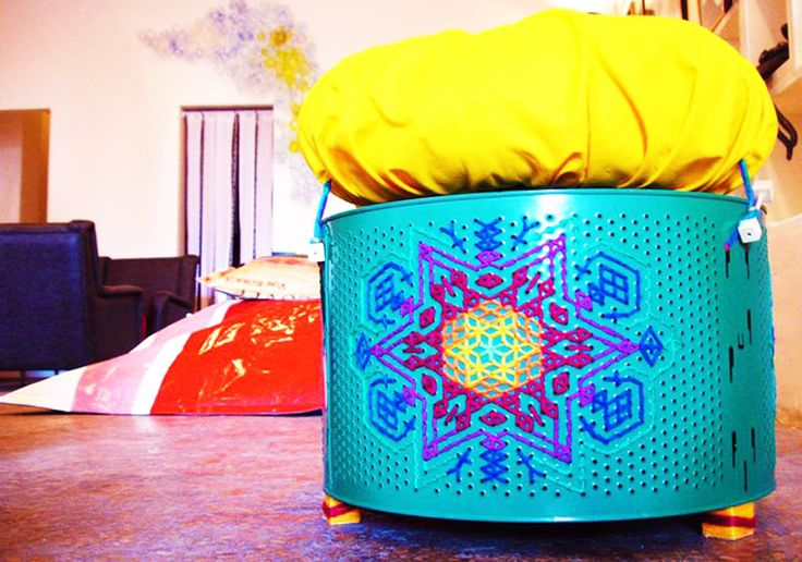 Use Old Washing Machine Drums to Make Intricately Decorated Seats