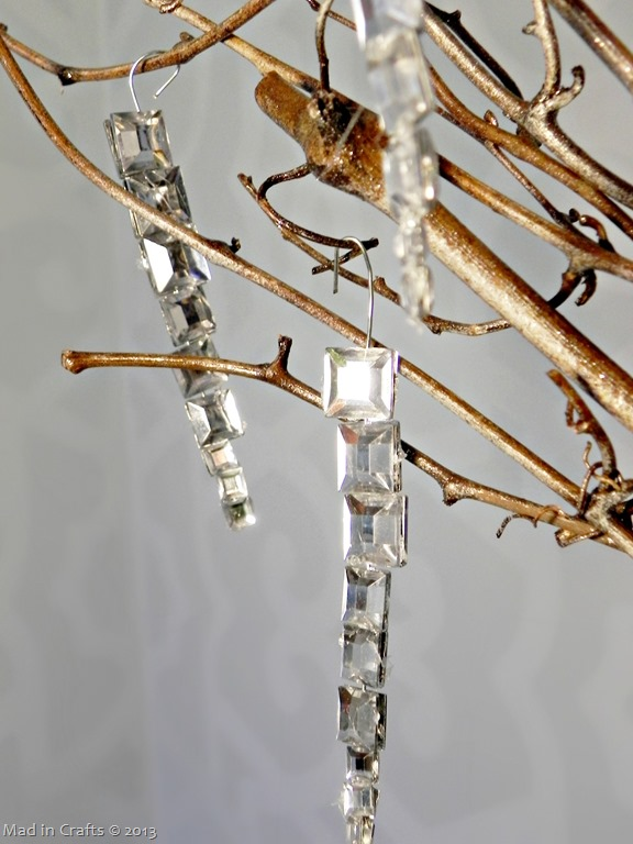 Dollar Store Gem Icicle Ornaments