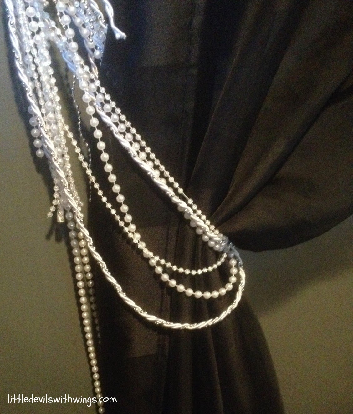Beaded curtain tiebacks