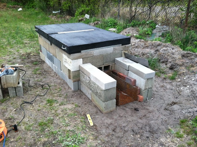 Build a meat smoker from concrete blocks