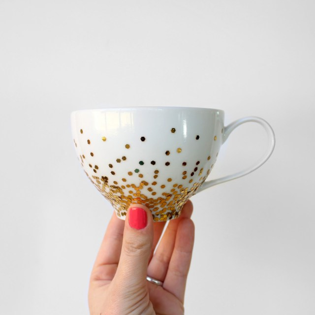 Gold Confetti Dipped Mug