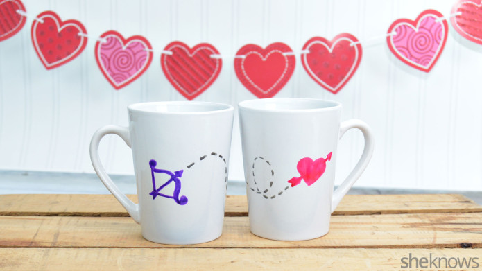 Hand-painted Valentine's Day Mugs