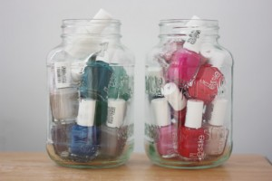 Mason Jar Nail Polish Storage