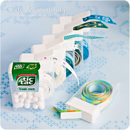 Organize your trims and ribbons with TicTac containers
