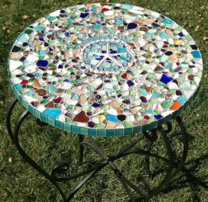 Sea Glass Mosaic Tabletop