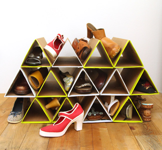 geometric shoe rack